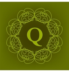 Monogram q design vector