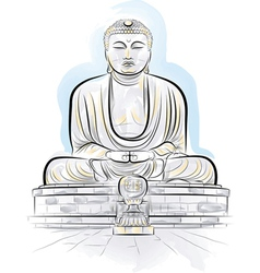 Drawing giant buddha vector