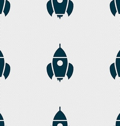 Rocket icon sign seamless pattern with geometric vector