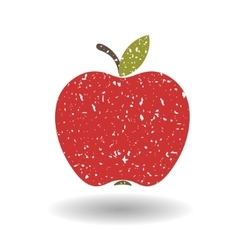 Flat red apple covered in white grit vector