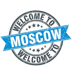 Welcome to moscow blue round vintage stamp vector