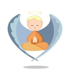 Angel meditation vector