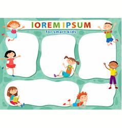 Brochure backgrounds with cartoon children vector