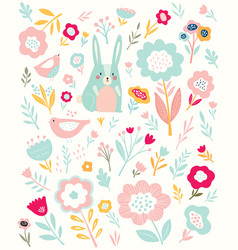 Bunny and flowers vector