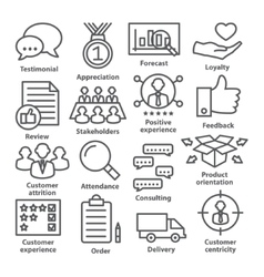 Business management icons in line style pack 26 vector