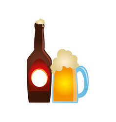 Color silhouette with bottle and foamy beer glass vector