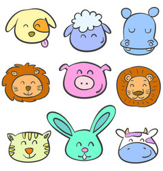 Colorful animal head of doodles vector