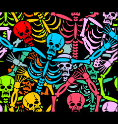 Day of the dead seamless pattern multicolored vector