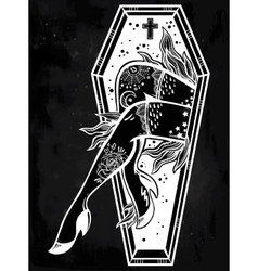 Decorative coffin in flash tattoo style vector image vector image