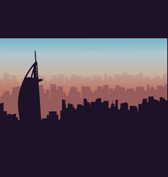 Dubai city beauty landscape silhouettes vector