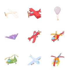 Flying machine icons set cartoon style vector