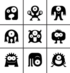 Funny monster icons set vector image