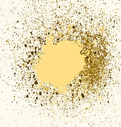 Gold paint splash splatter and blob on white vector