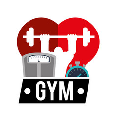 Gym heart man weight scale and chronometer vector