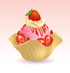 Ice cream strawberry vector