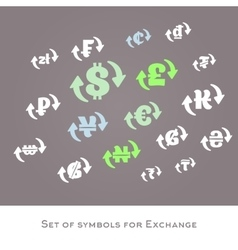 Isolated currency exchange signs set vector image