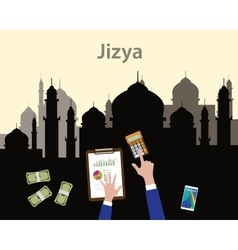 Jizya islam moslem concept like tax give to vector