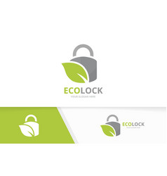 lock and leaf logo combination safe and vector image vector image