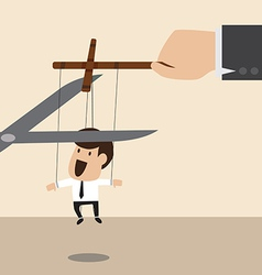 Marionette of businessman is released from rope vector