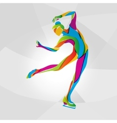 Multicolor silhouette of ice skating girl vector