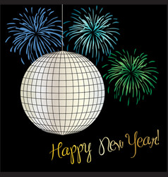 New years eve disco ball and fireworks vector