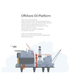 Sea oil platform poster brochure design vector