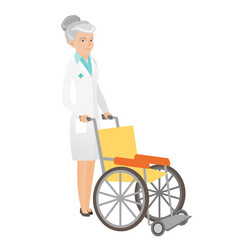 Senior caucasian doctor pushing wheelchair vector