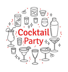 Set sketch cocktails and alcohol drinks vector
