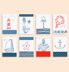 Set with sailor lighthouse mermaid ship and vector