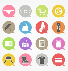 Shopping web icons set in color speech clouds vector image vector image