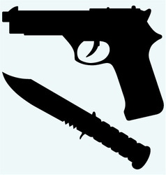 Silhouette of a knife and gun icon vector image