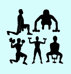 sport training action silhouette vector image vector image