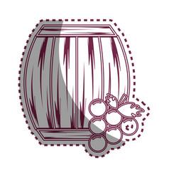 Sticker line barrel of wine with grape icon vector