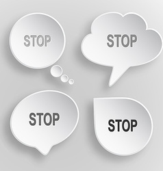 Stop white flat buttons on gray background vector