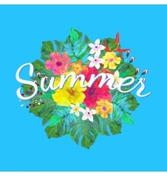 Summer text on abstract hand painted tropical vector