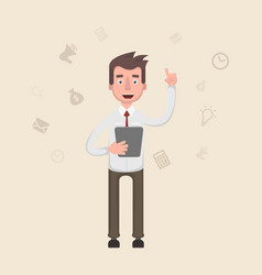 the businessman is holding a tablet in his hands vector image