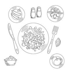 Vegetarian salad and fresh vegetables vector