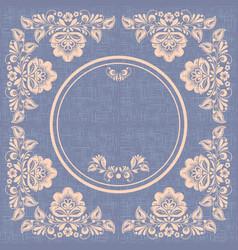 vintage circle frame hohloma style burlap vector image vector image