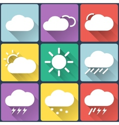 Weather flat icons set on multicolor background vector image