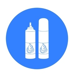 Whipped cream in an aerosol can icon in black vector