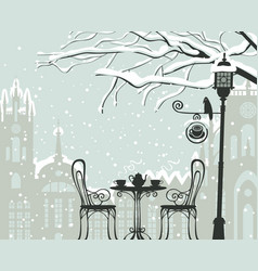 winter cityscape with street cafe lantern bird vector image
