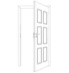 wire-frame opened door vector image