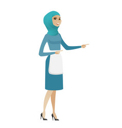 Young muslim cleaner pointing to the side vector