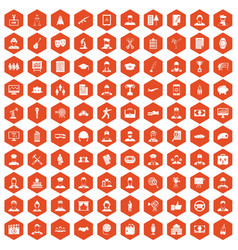 100 career icons hexagon orange vector