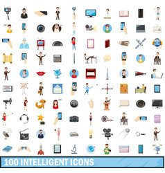 100 intelligent icons set cartoon style vector