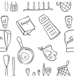 Doodle of kitchen set pattern style vector