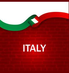 italy sport style flag ribbon brick wall style vector image