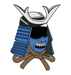 Blue mask samurai helmet warrior image vector