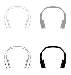 Headphones the black and grey color set icon vector