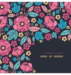 Night Kimono Blossom Corner Decor Pattern vector image
